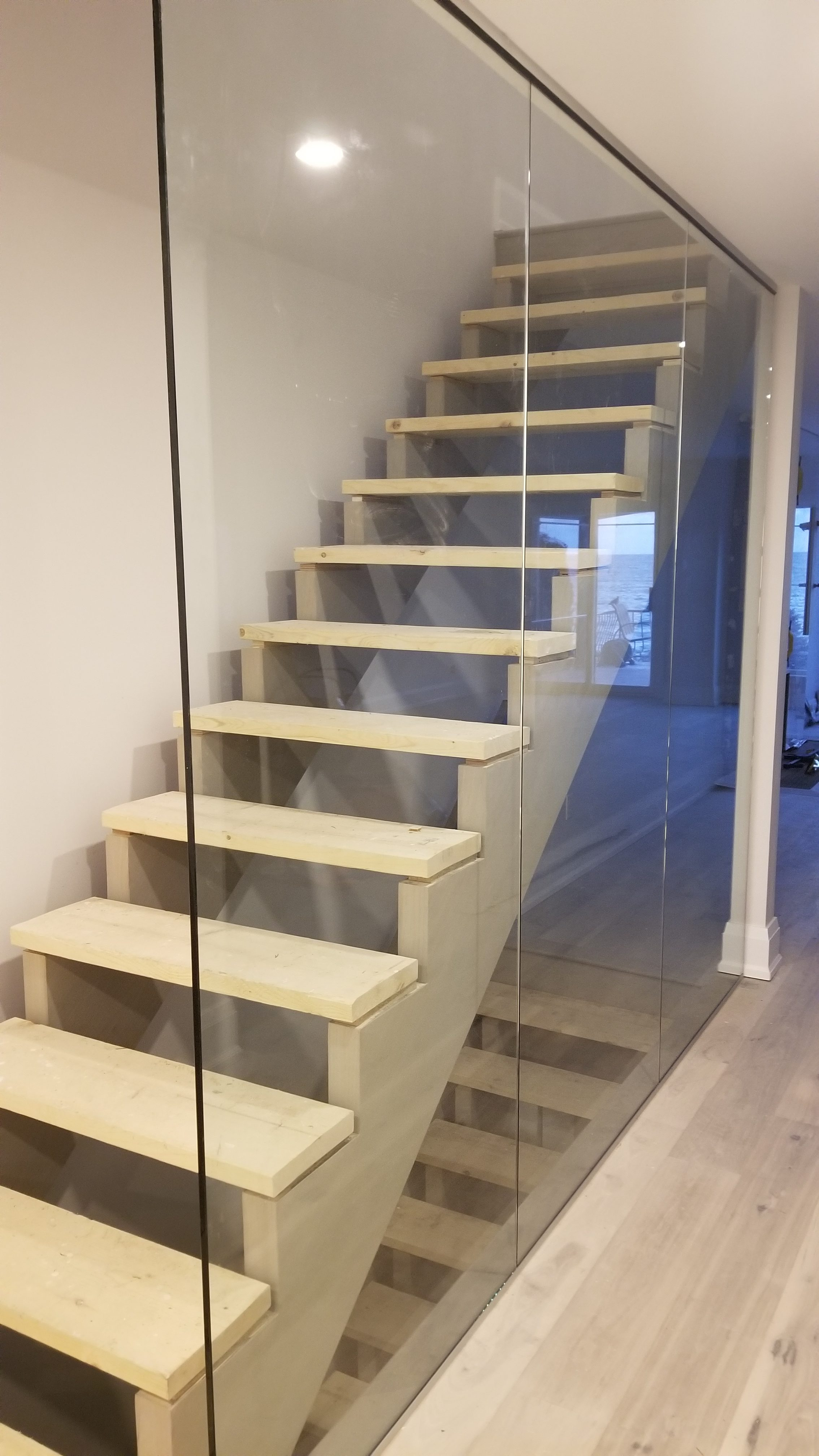 New Stairs and Glass Wall